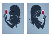 Drink with me again, vector girl silhouettes — Stock Vector