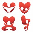 Vector collection of love and heart abstract symbols - Stock Vector