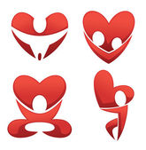 Vector collection of love and heart abstract symbols — Stock Vector