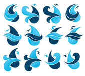 Set of water design elements, emblems, signs and icons — Stock Vector