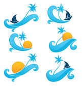 Sea and sun, holiday on water, vector collection of travel label — Stock Vector