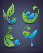 Bright leaves and fresh water — Stock Vector