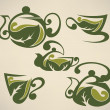 Green tea,cups and pots vector collection of forms, symbols and  — Imagens vectoriais em stock