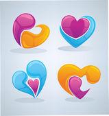Collection vecteur poli et brillant du concept de l'amour, étiquettes et — Vecteur