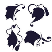 Vector collection of women' head silhouettes and hairdresser equ — Stock Vector