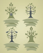 Vector collection of different tree emblems in retro and naive s — Stock Vector