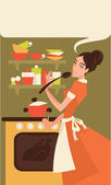 Home made cooking in retro style, vector commercial illustration — Stock Vector