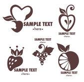 Vektor-reihe von frischen stilisierten symbolen, früchte und beeren — Stockvektor
