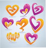 Coleção de vetor brilhante e lustroso do conceito de amor — Vetorial Stock