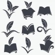 Vector collection of reading, writing, poetry, literature and hi — Stock Vector