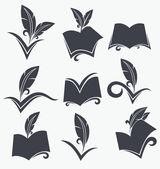 Vector insieme di lettura, scrittura, poesia, letteratura e ciao — Vettoriale Stock
