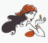 Vector image of gypsy, attractive woman — Stock Vector
