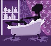 Imagem vetorial de menina bonita no banho — Vetor de Stock
