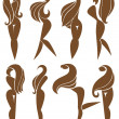 Vector collection of girls silhouettes — Stock Vector