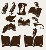 Vector collection of old books — Stock Vector