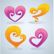 Vector collection of glossy love symbols, signs and forms — Stock Vector