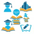 Education in university, vector collection of reading symbols — Stock Vector
