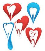 Vector collection of healthy teeth — Stock Vector