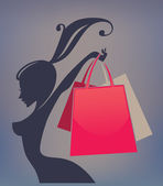 Happy girl and shopping bag — Wektor stockowy