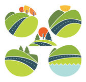 Landscape, travel and nature symbols in cartoon style — Stock Vector