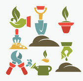 Green fingers,vector icons of gardening tools — Stock Vector