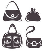 Vector collection of woman's accessories, bags and purse — Vector de stock