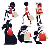 Girls and shopping bags large collection — Stock Vector