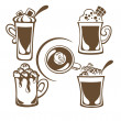 Hot and sweet drinks symbols and emblems — Imagen vectorial
