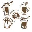 Hot and sweet drinks symbols and emblems — Stock vektor
