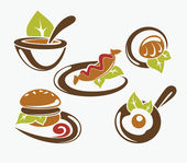 Common fast food and everyday meal, vector collection — Stock Vector