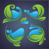 Folhas verdes decorativas e águas azuis — Vetor de Stock