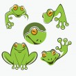 Cute green tree frog cartoon character Icons — Stock Vector