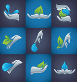 Human's hands and green plants and water drops — Stock Vector