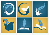Old books, reading and writing symbols education flat icons — Stock Vector