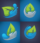 Water drops and people hands design elements — Stockvektor