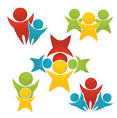 Wektor zestaw aktywnych, sprawny i jasne rodziny — Wektor stockowy