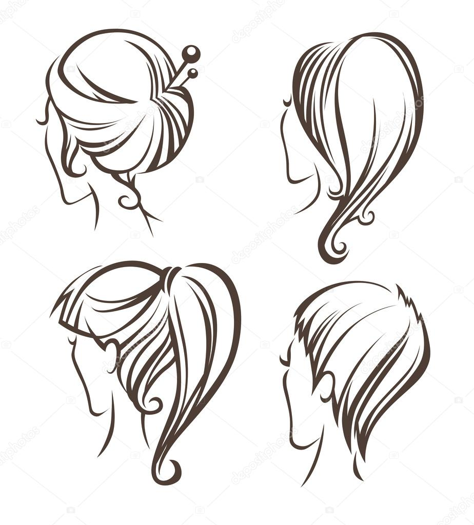 Women head images and hairstyles on back side — Stock Vector ...