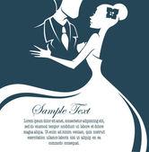 Bride and groom, wedding card in elegant style — Stock Vector