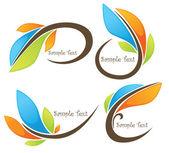 Glossy bright spring leaf frames — Vector de stock