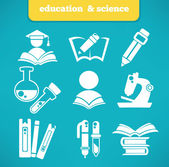 Education and science vector symbols and flat icons — Stock Vector
