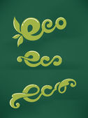 Eco letters on dark green background — Stok Vektör