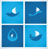 Holiday on water, vector collection of travel icons — Stock Vector