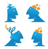 Thinking man, ideas and creativity — Stock Vector