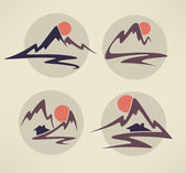 Mountain view, high peaks and small houses — Stock Vector