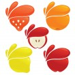 Vector collection of fresh stylized fruits and berries — Stock Vector