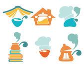 Equipo de cocina y casa comida hecha de símbolos — Vector de stock