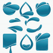 Vector collection of water stickers and symbols for your text — Stock Vector
