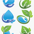 Vector collection of leaf and water frames, labels and stickers — Stock Vector