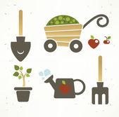 Meu pequeno jardim, infantis símbolos e ícones — Vetor de Stock