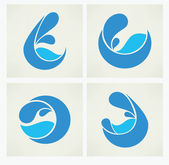 Vector collection of water stickers — Stock Vector